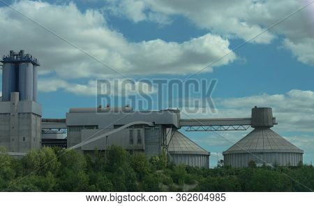 Old Power Station Near Motorway In Germany