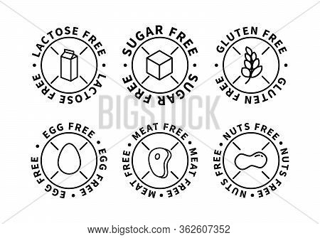 Set Of Food Simple Black Icons, Lactose Free, Sugar Free, Nuts Free, Egg Free, Meat Free, Gluten Fre