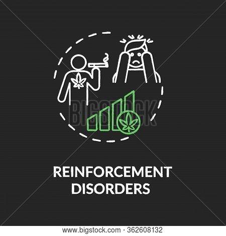 Reinforcement Disorders Chalk Rgb Color Concept Icon. Cannabis Dependence, Drug Abuse Idea. Marijuan