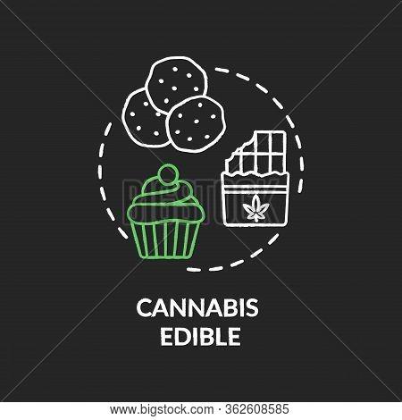 Cannabis Edible Chalk Rgb Color Concept Icon. Marijuana Infused Food, Hemp Snacks Idea. Sweet Desser