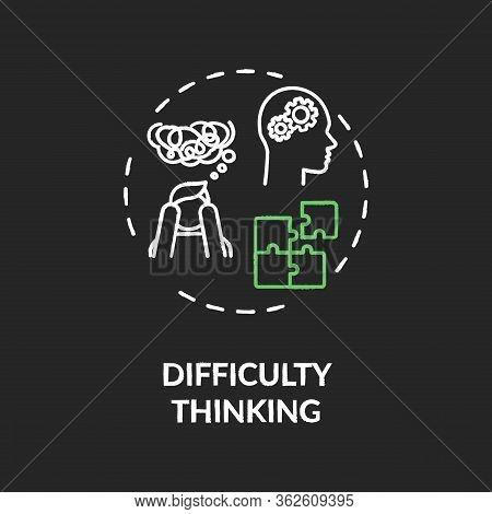 Difficulty Thinking Chalk Rgb Color Concept Icon. Marijuana Use Side Effect Idea. Confusion, Perplex