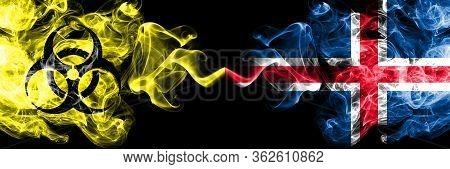 Quarantine In Iceland, Icelandic. Coronavirus Covid-19 Lockdown. Smoky Mystic Flag Of Iceland, Icela
