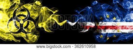 Quarantine In Cape Verde. Coronavirus Covid-19 Lockdown. Smoky Mystic Flag Of Cape Verde With Biohaz