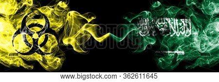 Quarantine In Saudi Arabia, Arabian. Coronavirus Covid-19 Lockdown. Smoky Mystic Flag Of Saudi Arabi