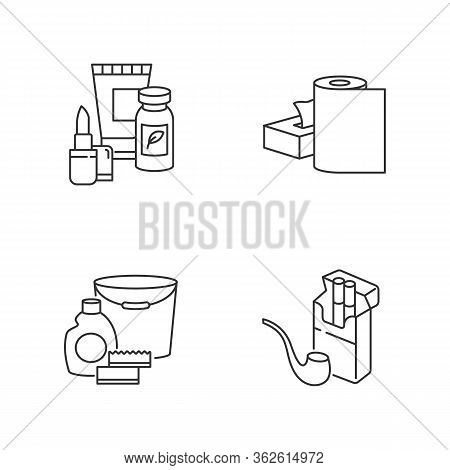 Grocery Products Pixel Perfect Linear Icons Set. Beauty Items. Food Supplements In Pills For Health.
