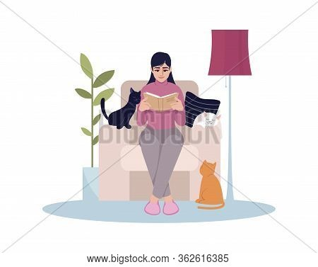 Woman Sit In Armchair Semi Flat Rgb Color Vector Illustration. Female Sit Comfy With Magazine. Perso