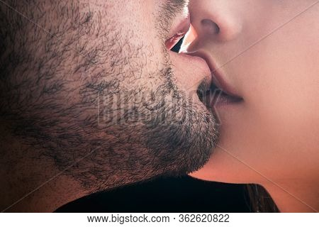 Sensual Kissing. Couple In Love. Intimate Relationship And Sexual Relations. Closeup Mouths Kissing.