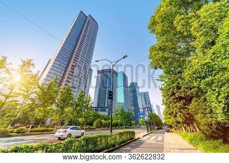 Highway And City Skyline, Hangzhou, China Cityscape.translation: