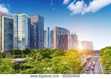 Highway And City Skyline, Hangzhou, China Cityscape.