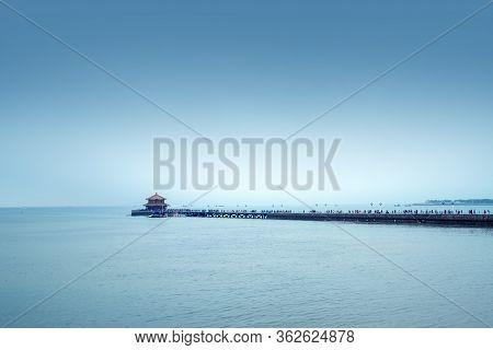 Trestle Bridge And Maritime Scenery In Qingdao, Shandong Province, China