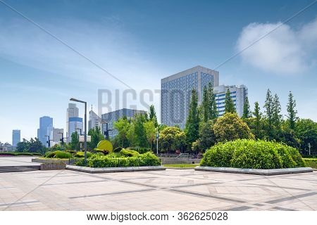 Park Plants And Modern Architecture, Jinan Cityscape, China.