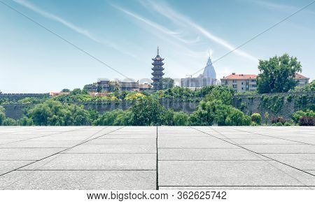 Ancient City Scenery, City Walls And Pagodas, Nanjing, China.
