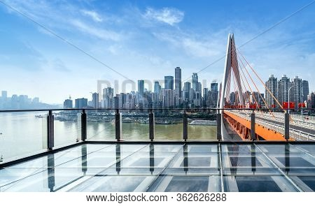 Chongqing City Skyline, Modern Bridges And Skyscrapers.