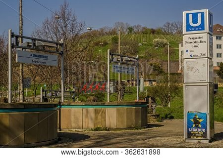 Stuttgart,germany - March 28,2020:pragsattel This Is The Upper Part Of The Local Tram Station,where