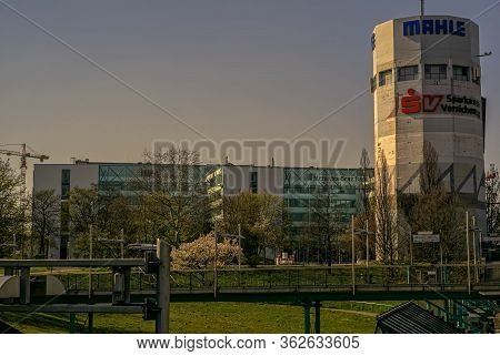 Stuttgart,germany - March 28,2020:pragsattel This Is An Old High-rise Bunker,which Is Used For Adver