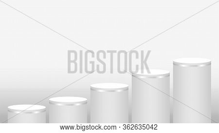 Pedestal Cylinder Circle Five Steps For Cosmetics Showcase, Podium Circle Stage White Grey And Silve