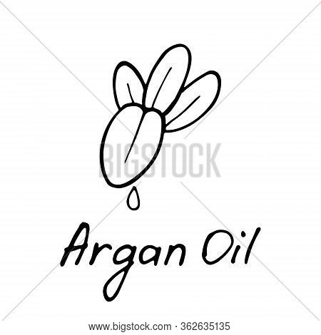 Argan Butter. Cosmetic Ingredient. Nutritional Oil For Skin Care. Hand-drawn Icon Of Argan Nut. Vect