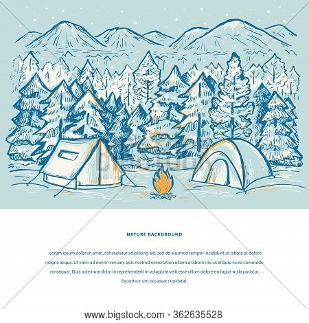 Nature Template With Tents, Mountains, Bonfire, Snow, Pine Forest And Space For Your Text. Winter To