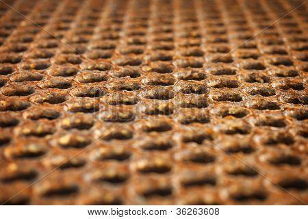 Oberfläche von einem rostigen Metall-Boden