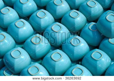Blue Square Cups On Shelve