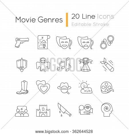 Movie Genres Pixel Perfect Linear Icons Set. Cinematography, Filmmaking Industry, Cinema Business Cu
