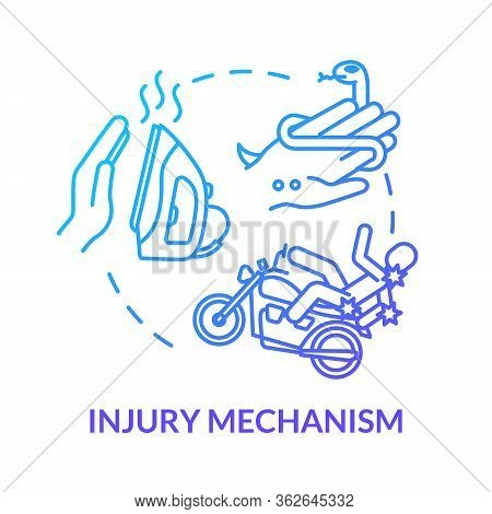 Injury Mechanism And Accident Factors Concept Icon. Iron Burn And Road Accident, Snakebite And Motor