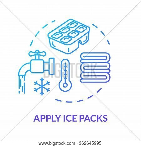 Ice Packs Applying Concept Icon. Traumatism Ambulance, First Aid Step, Hematoma Treatment And Bruise