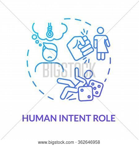 Human Intention Role, Think Importance Concept Icon. Traumatism Psychological Factor, Mental Disorde
