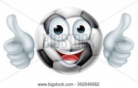A Happy Cartoon Soccer World Football Ball Man Mascot Character Doing A Double Thumbs Up