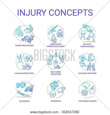 Injury Factors, Trauma Causes Concept Icons Set. Human Intention, Incidents, Domestic And Traffic Ac