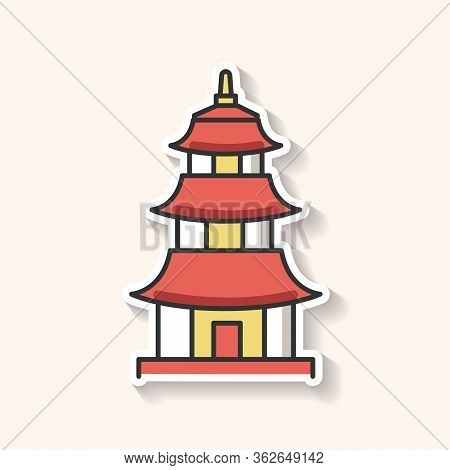 Japanese Temple Patch. Buddhist Pagoda Structure. Traditional Shinto Temple. Japanese Style Castle.