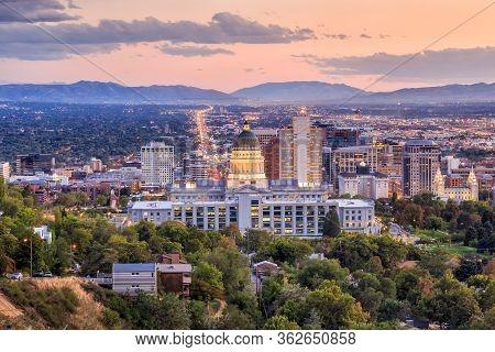 Salt Lake City, Utah At Night
