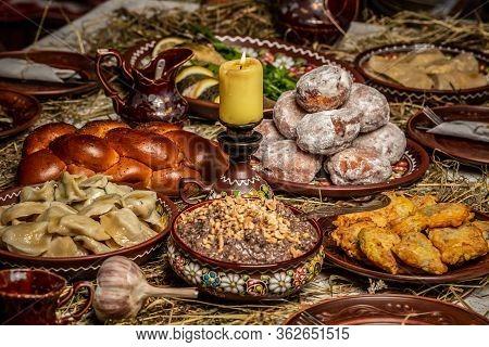 Table With Traditional Ukrainian Homemade Food. Traditional Ukrainian Dinner. Orthodox Christmas Eve