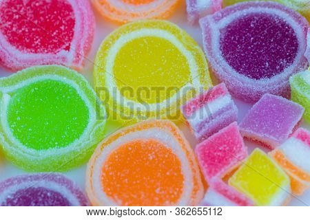 Colorful Jelly Candies. Juicy Colorful Jelly Sweets. Gummy Candies. Multi-color Marmalade Jelly Cand