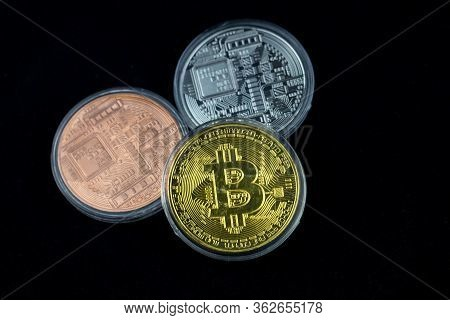 Bitcoin Is A Modern Way Of Exchange And This Crypto Currency. Bitcoin Gold On Black Background. Bitc