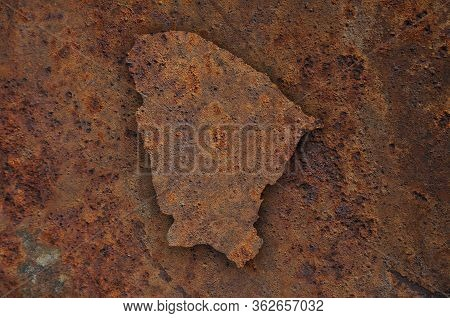 Detailed And Colorful Image Of Map Of Ceara On Rusty Metal
