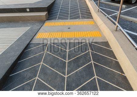 Block Tactile Paving For Blind Handicap. Tactile Paving For Blind Handicap On Tiles Pathway, Walkway