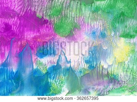 Abstract Hand-made Pattern, Multi-colored Background, Gouache, Watercolor, Oil Painting, Fantastic L