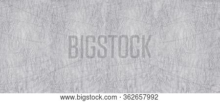 Crumpled Silver Gray Soft Leather Wide Texture. Wrinkled Supple Leather Light Background