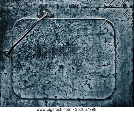 Old Metal Texture. Shabby Painted Iron Metallic Door. Abstract Dark Grunge Background