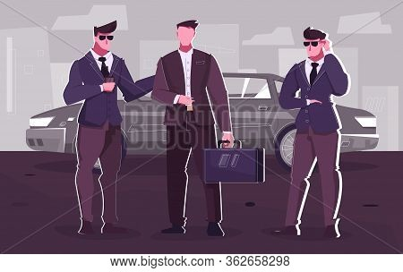 Security Service Flat Composition With Businessman Getting Out Of Limousine Surrounded By Two Bodygu