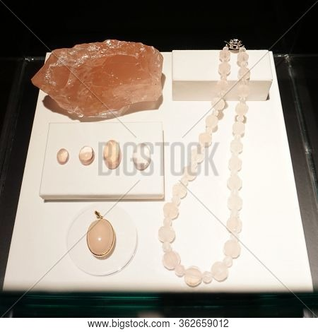 Rose Quartz Crystal, Semi Precious Gem. Jewelry Composition Of Necklace Beads, Pendant, Gemstone. Ge