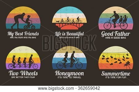 People On Bikes. Set Of Retro Illustrations With Silhouettes Of Cyclists On Bicycles. Woman Teaching