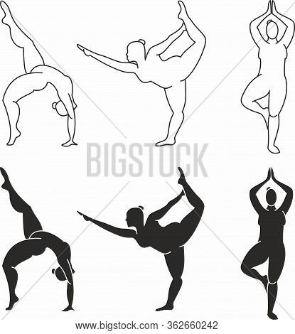 Yoga Poses. Silhouetts Of Girl Plus Size. Vector