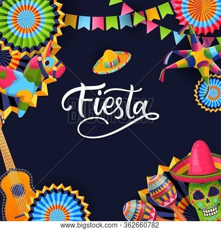 Fiesta Cinco De Mayo Square Black Background. Poster Or Greeting Gift Card With Calligraphy Letterin
