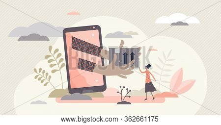 Online Delivery Vector Illustration. Website Shopping Flat Tiny Persons Concept. E-commerce Customer