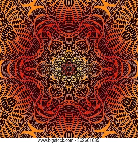 Vintage Psychedelic Trippy Colorful Fiery Mandala. Yellow Orange Red Gradient Colors Outline, Isolat