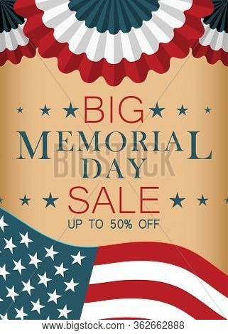 Memorial Day Sale Banner Design. Template For Flyer, Banner, Web. Memorial Day Background. Vector Il