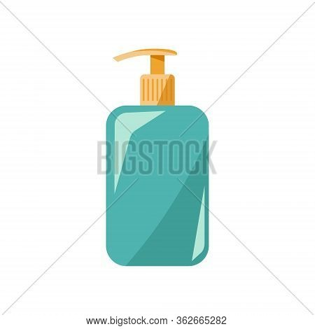 Blue Bottle Of Soap With Pump. Personal Care Concept, Illustration In Flat Style