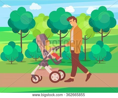 Child And Daddy On Walk Vector, Nature And Greenery Of Forest Park, Father And Kid Sitting In Peramb